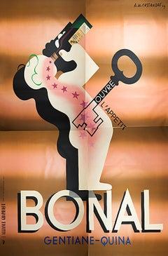 """A.M. Cassandre-Liqueur Bonal (Quadriptych)-125"""" x 93""""-Serigraph-1933-Vintage"""