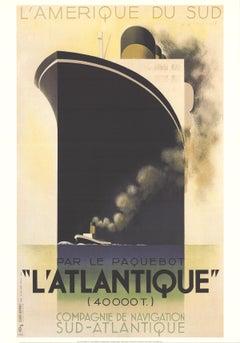 """A.M. Cassandre-L'Atlantique-39.25"""" x 27.5""""-Poster-1998-Vintage-Black-boat, ship"""
