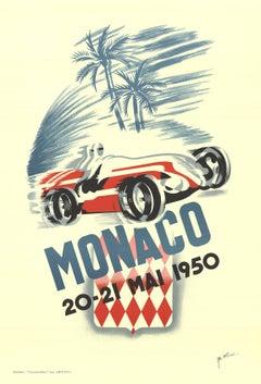 """B. Minne-Monaco Grand Prix 1950-37.75"""" x 25.5""""-Lithograph-1995-Vintage-Blue-car"""