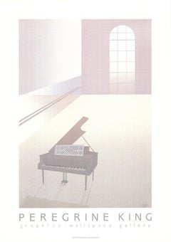 "Perry King-Wallspace with Piano-35.5"" x 25.25""-Serigraph-1984-Art Deco-White"