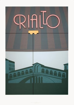 "Perry King-Rialto-35.5"" x 25""-Serigraph-1984-Modernism-Gray, Green, Multicolor"