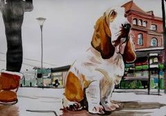 Basset hound, Painting, Acrylic on Paper