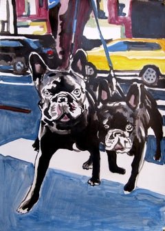 bolldogs, Painting, Acrylic on Paper