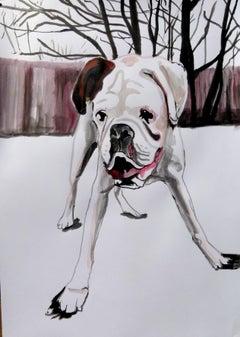 bullsog, Painting, Acrylic on Paper