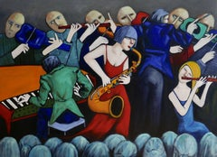 Sax & Flute players, Painting, Oil on Canvas