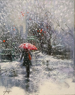 Heading to Book Store on Snow Day, Painting, Oil on Canvas