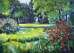 City parkland, Painting, Oil on Canvas