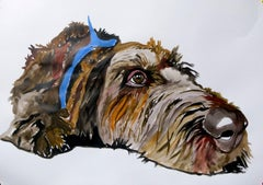German wirehaired pointer, Painting, Acrylic on Paper