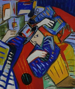 Jazz trio, Painting, Oil on Canvas