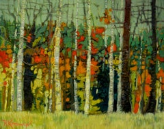 Beautiful Birches, Painting, Oil on Canvas