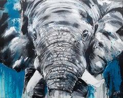 ELEPHANT #8 - Close up - Large Painting, Painting, Acrylic on Canvas
