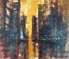 New York sunrise IV, Painting, Oil on Wood Panel
