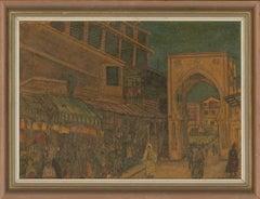 Amiri - Framed 1986 Watercolour, Tangier - Grand Socco Gate