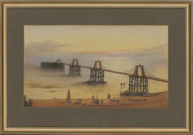 William Arthur Earp (1867-1927) - Fine Watercolour, Chain Pier Brighton - Brown Figurative Art by William Arthur Earp