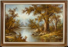 Irene Cafieri - Signed & Framed Contemporary Oil, The River in Autumn