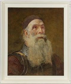 J. Parker - 1881 Watercolour, Portrait of an Elderly Soldier