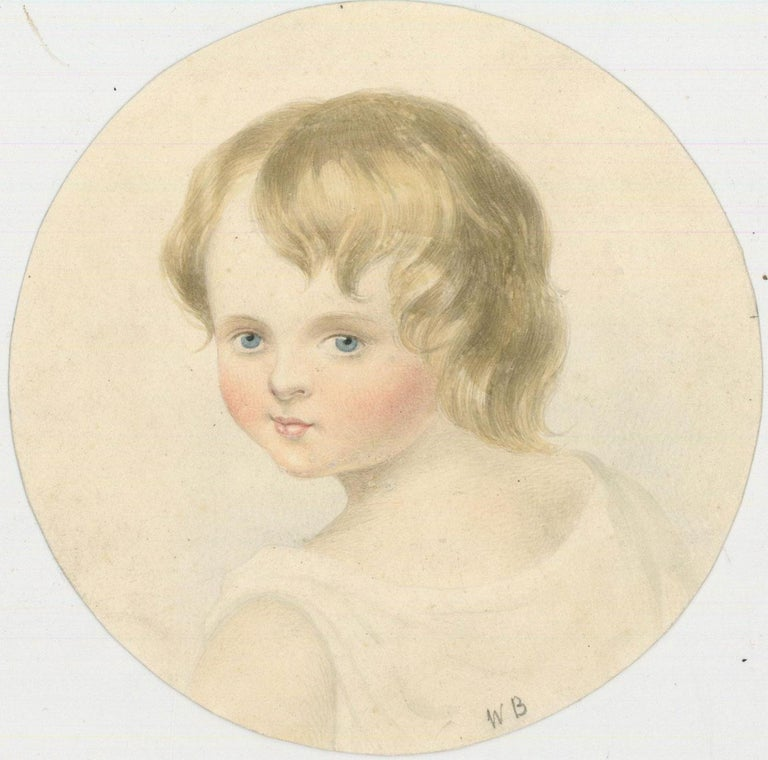 W. R Buckley - Mid 19th Century Watercolour, Portrait of a Young Child - Beige Figurative Art by W. R Buckley