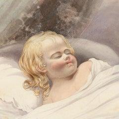 Charles Frederick Buckley (1812-1869) - Watercolour, Sleeping Child, 'Innocence'