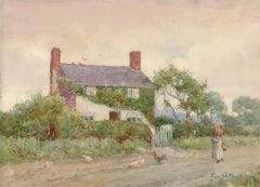 1909 Watercolour Signed Bardill, Cottage Scene