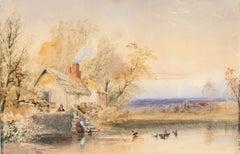 Cornelius Pearson (1805-1891) - 1851 Watercolour, Figures by Waterside Cottage
