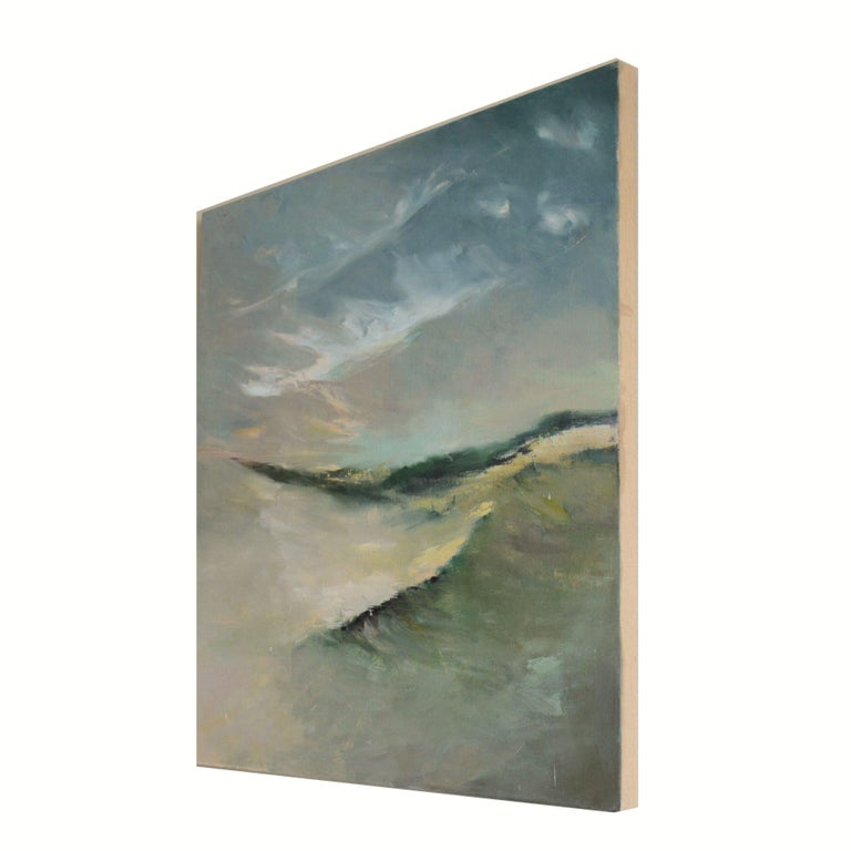 I have completed many paintings in the DUNES Series- my best-selling series. This one is of course, would fill a large space. It is warm and pretty with a generous amount of neutral colors to fit into any interior.  It is wired and coated with
