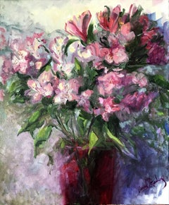Alstroemeria in Red Vase, Painting, Oil on Canvas