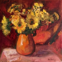 Hot Sunflowers, Painting, Oil on Canvas