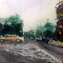 Downpour, Painting, Oil on Wood Panel