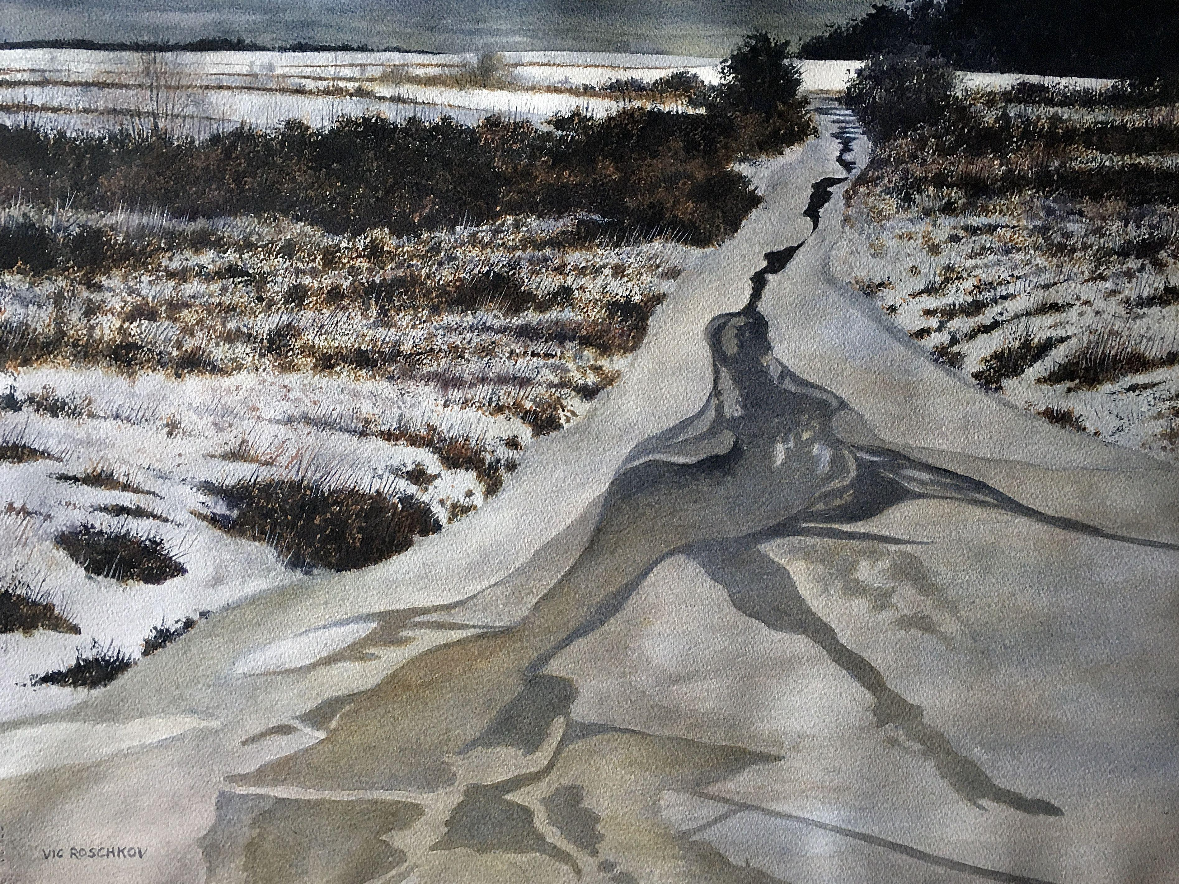 Thin Ice, Painting, Watercolor on Watercolor Paper