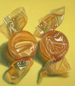 Two Butterscotch, colorful realistic candy oil painting, yellow tones