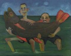 the big catch #2, bright color, fish, narrative, humorous seascape