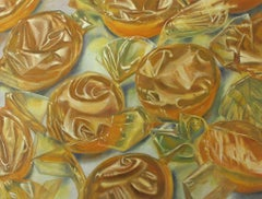 Butterscotch 2, colorful hyper realistic oil painting of yellow candy in wrapper