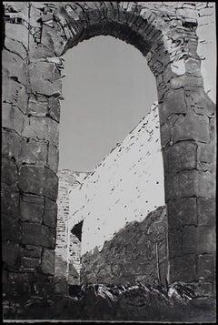 Approaching Slains Castle, #11, monochromatic black / white architectural ruins