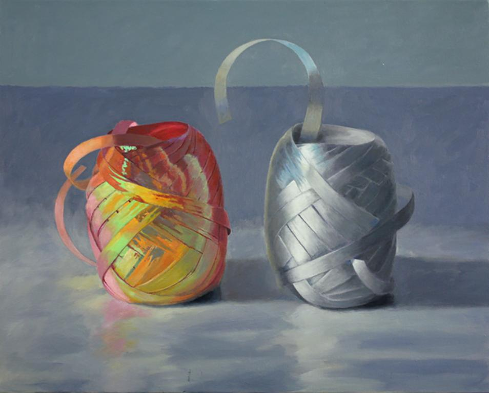 Iridescence, super realistic oil painting of colorful iridescent ribbons