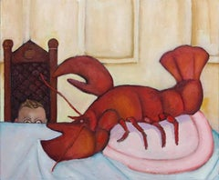 The Slippery Crustacean, humorous, bright color oil painting of boy and lobster