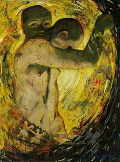 Duality, mysterious androgynous figure earth tone, yellow