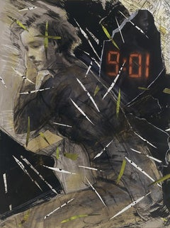 Nine O One, mixed media collage with woman, text
