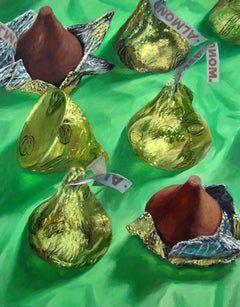 Almond Kisses, bright color, whimsical, photorealist candy