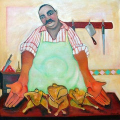 Butcher, colorful whimsical food charcter