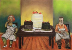 German Expressionist Bakers, colorful painting with food cakes