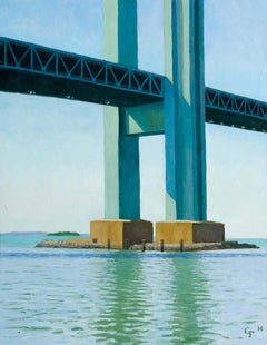 Verrazano Bridge Pier, realistic waterscape, NYC
