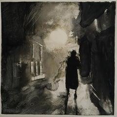 Sleepwalk Redux #6, mysterious monochromatic, dark, lone figure, urban night