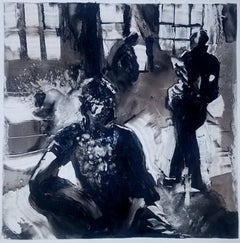 Sleepwalk Redux #9, monochromatic black and white mystery monotype