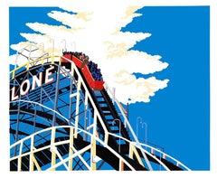 Lone, Coney Island Spiritual, bright color Cyclone roller coaster amusement park
