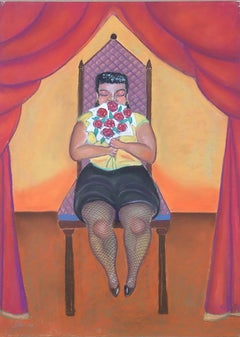 small woman on a big chair, figurative, colorful, botero-like, pastel, paper