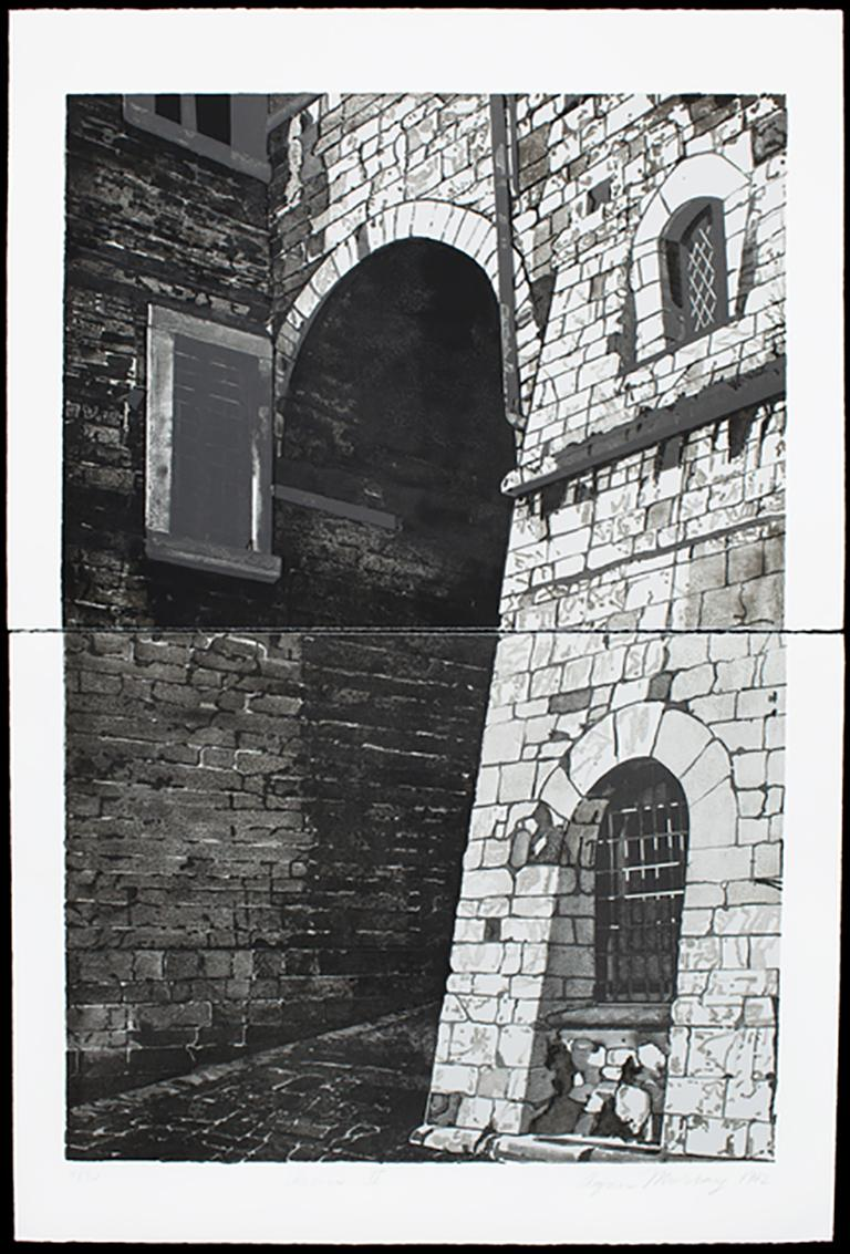 Assisi II, dramatic diptych architectural print monochromatic black and white