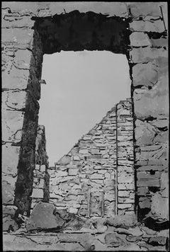 Aproaching Slains Castle, #10, monochromatic black and white architectura castle