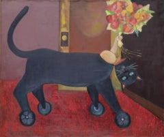 Trojan Cat, surrealist, fantasy, whimsical, cat