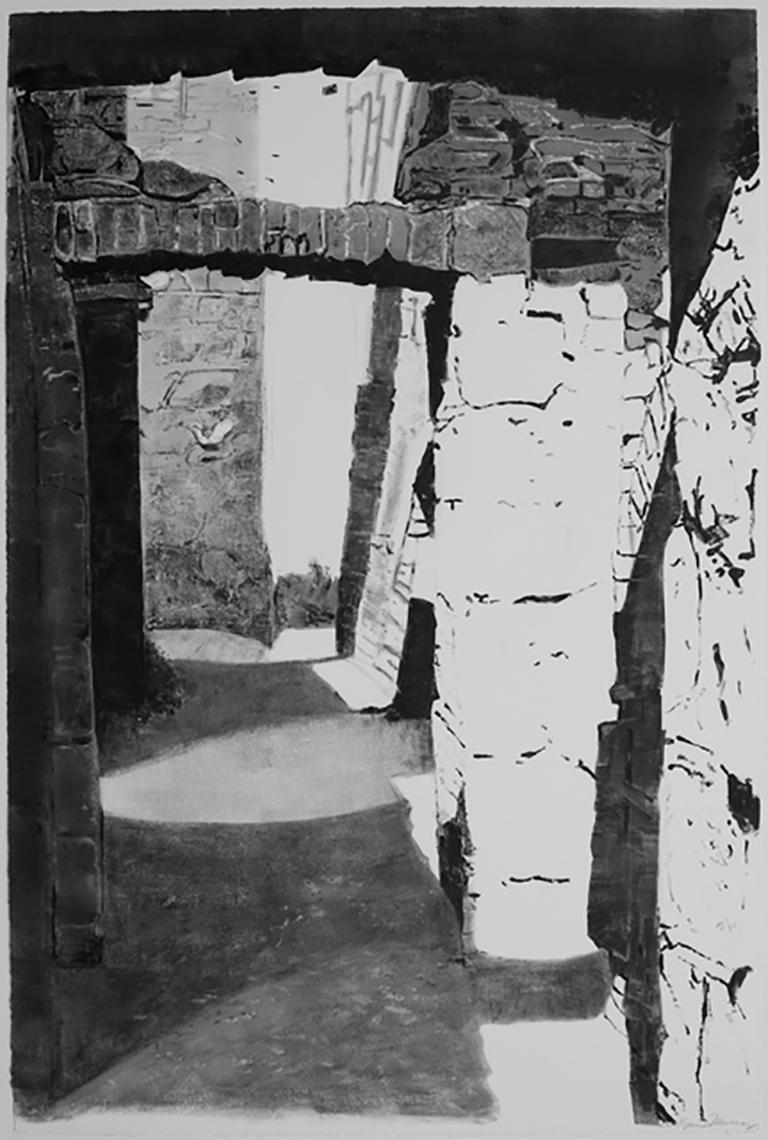 Approaching Slains Castle #8,black/white monotype, architecture ruin
