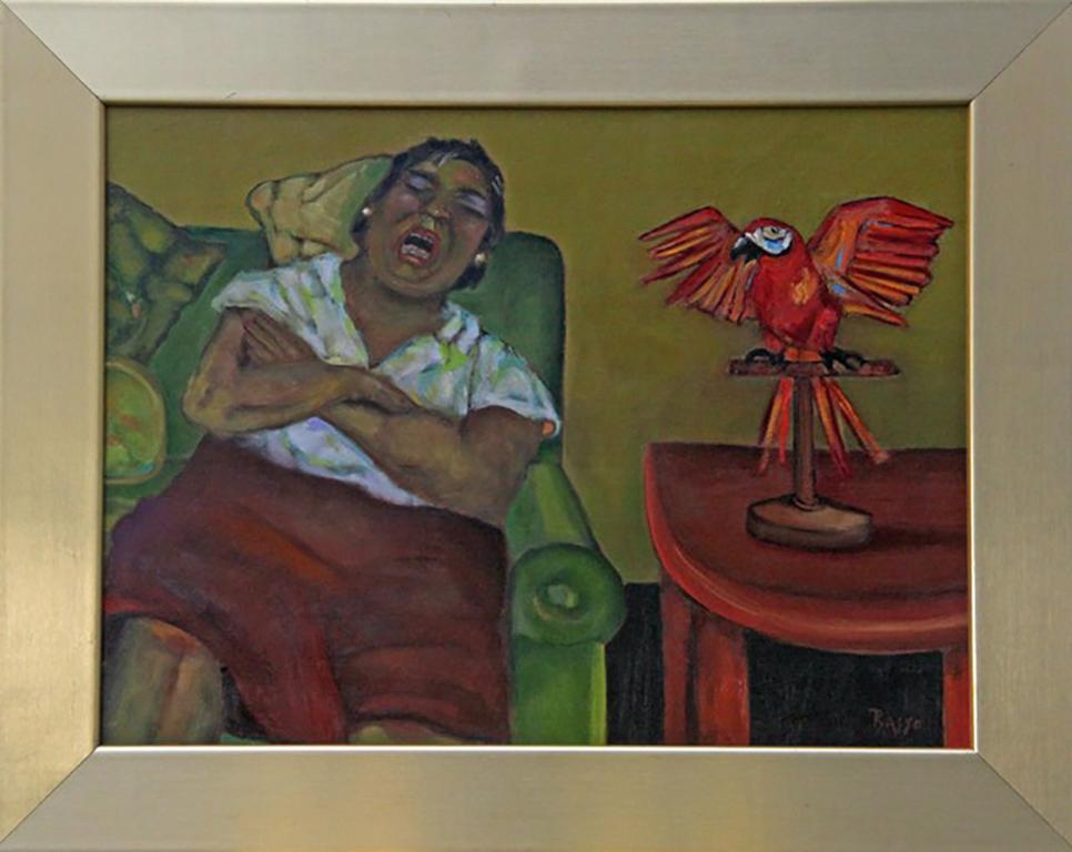 Mrs. K and Cherrybomb, colorful sleeping woman and red parrot